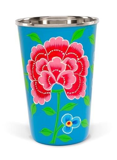 Çiçekli Mavi Emaye Bardak-3rd Culture